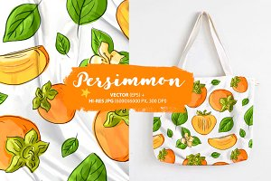Seamless pattern with persimmons
