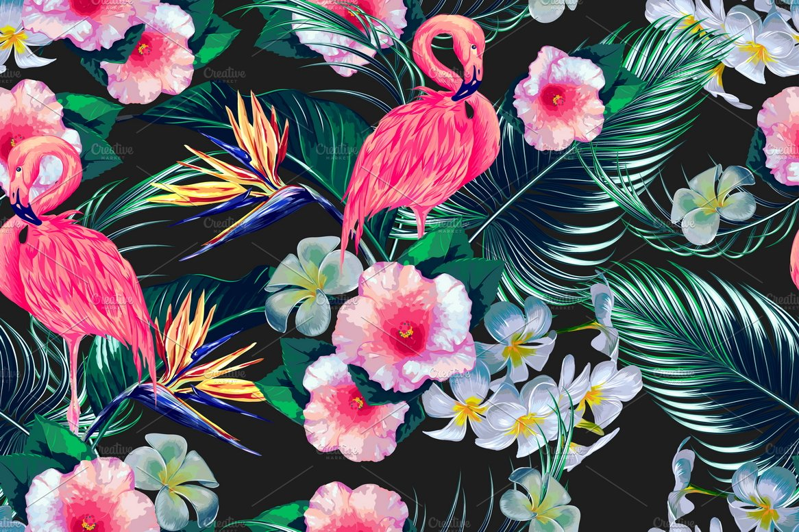 Tropical Flowersflamingos Pattern Graphic Patterns Creative Market