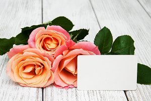 Roses with card