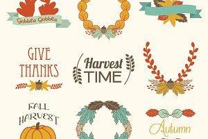 Fall Autumn Elements Vector Clip Art