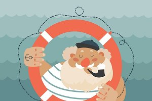 Bearded old sailor with lifebuoy