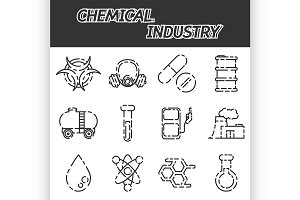 Chemical industry icon set