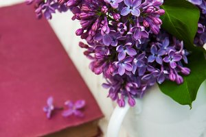 Lilac flowers and book