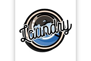 Color vintage laundry emblem