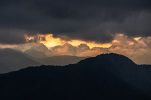 Dark sunset in the mountains