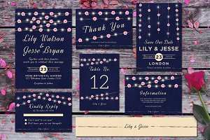 String Lights Wedding Invitation Set