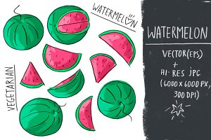 Set with watermelon and lettering