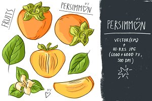 Set with persimmon and lettering