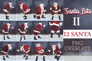 Santa Bits TWO - 12 PNG Overlays