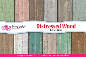 Distressed Wood digital paper