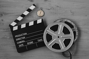 Clapperboards and two film reels