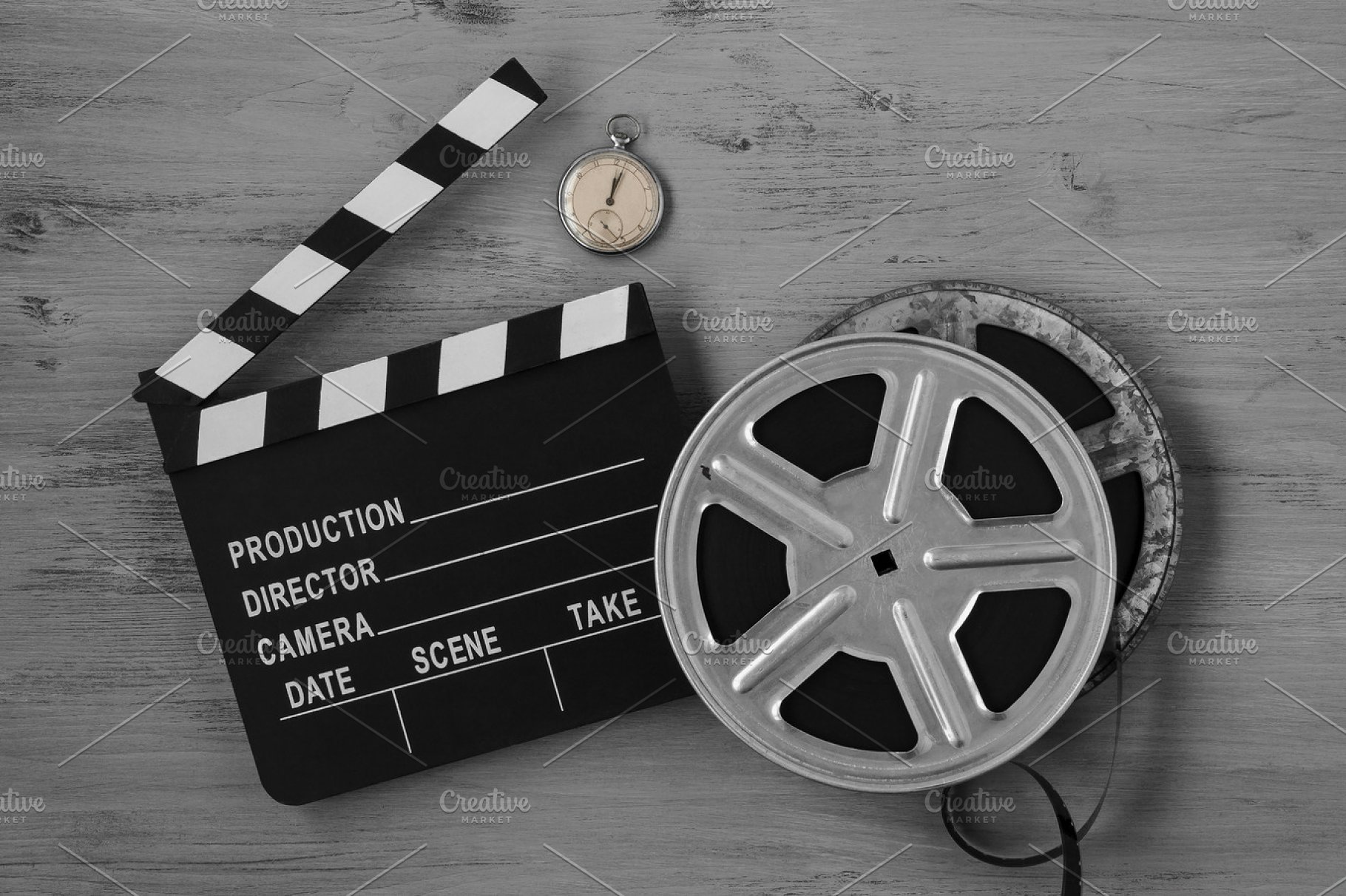 Clapperboards and two film reels | High-Quality Arts ...