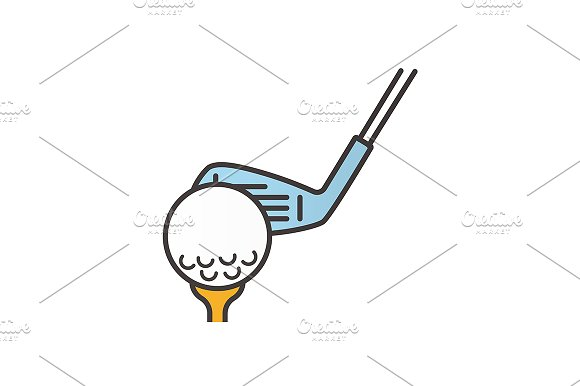 Golf ball on tee with club. Vector - Icons