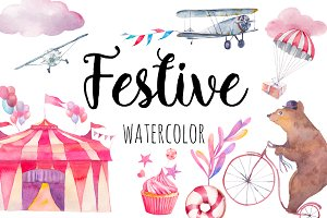 Festive watercolor