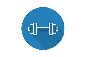 Gym dumbbell icon. Vector