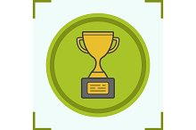 Gold cup color icon. Vector