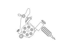 Tattoo machine drawing. Vector