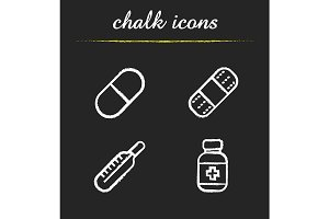 First aid medicine icons. Vector