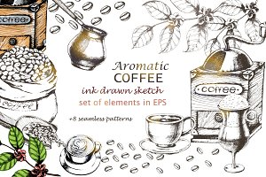 Ink drawn Coffee set