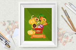 Organic vegetables and fruit poster
