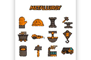 Metallurgy flat icon set