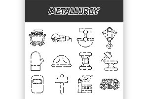 Metallurgy icon set
