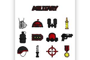 Military flat icons set