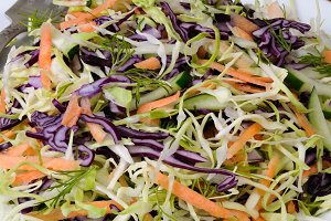 salad of red and white cabbage