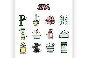 SPA flat icon set