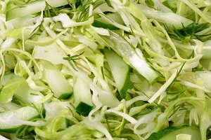 Salad with cucumber coleslaw