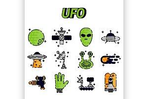 UFO flat icon set
