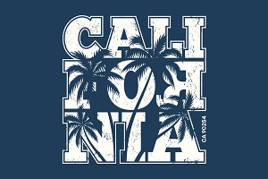 California tee print with palm trees