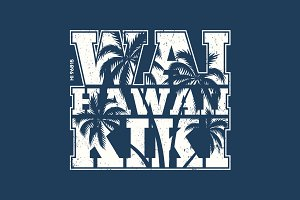 Hawaii tee print with palm trees