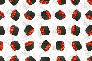 Seamless pattern of sushi