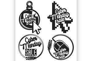 vintage cyber monday emblems