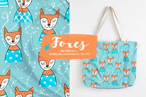 Seamless pattern with foxes