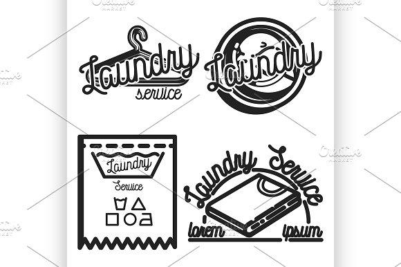 Vintage Laundry Emblems Illustrations Creative Market