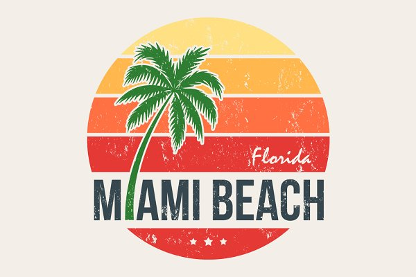Miami tee with palm trees