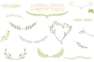 Laurel Frames, Leaves, And Stems