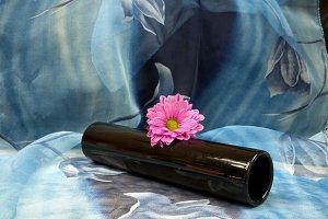 Black vase against a blue backdrop