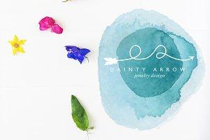 Dainty Watercolor Arrow Premade Logo