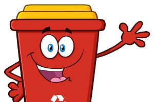 Happy Red Recycle Bin