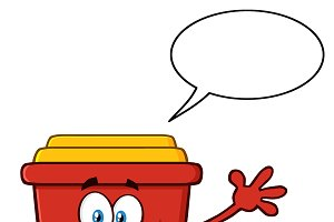 Red Recycle Bin With Speech Bubble