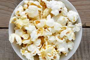 Popcorn close-up in bowl