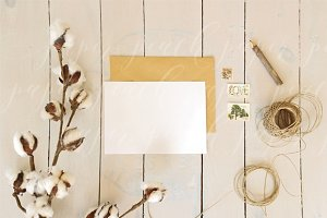 Rustic Cotton Stationery Mockup