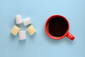 Marshmallow and coffee cup