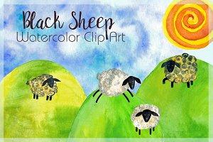 BaaBaaBlack Sheep Watercolor Clipart