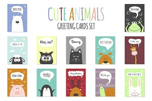 Greeting cards set - cute animals.