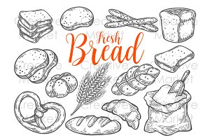 Bakery Bread hand drawn set