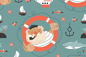 Seamless pattern with old sailor